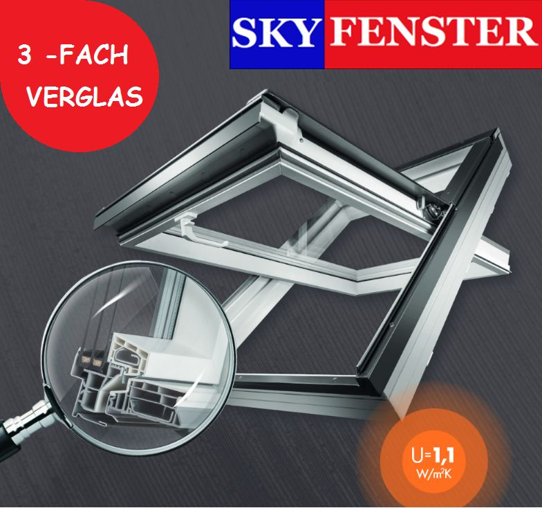 dachfenster skyfenster 3 fach verglasung skytermo eindeckrahmen. Black Bedroom Furniture Sets. Home Design Ideas